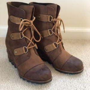 Sorel Joan of Arctic Wedge Boots, Elk, Size 9